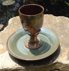 Pottery Communion Set Wheel Thrown Chalice by littlebearclayworks, $65.00