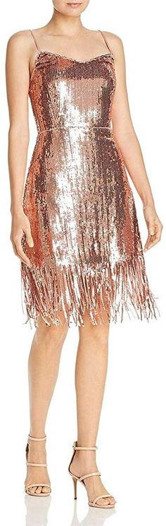 Laundry by Shelli Segal Women's Metallic Cocktail Dress Rose Gold 12 at Amazon Women's Clothing store: