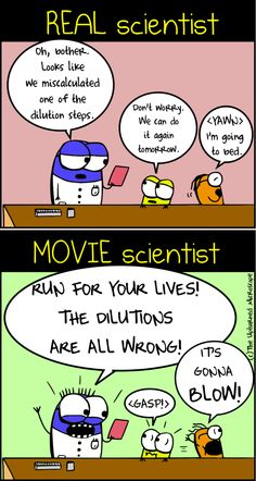 These cartoons from The Upturned Microscope has been making the rounds recently because they are great. Once again, movie science is compar. Funny Science Jokes, Science Puns, Chemistry Jokes, Life Science, Funny Jokes, Science Art, Lab Humor, Nerd Humor, Memes Humor