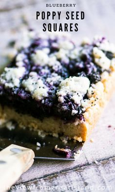 Blueberry Poppy Seed Squares, a unique coffee cake in the Eastern European tradition ~ it's packed with fresh blueberries and crunchy poppy seeds on a buttery shortbread crust. This is one unforgettable snack cake!