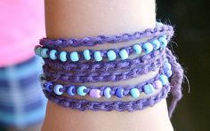 These beaded wrap crochet bracelets is the perfect project for a beginner crocheter, you can even make one to match your favorite back to school outfit.