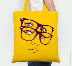 "Cotographix PortableArt, ""Y"", By © Cranio Dsgn tote bag, bag, fashion, moda, arte, art, portable art, arte portátil, illustration, ilustración, glasses"