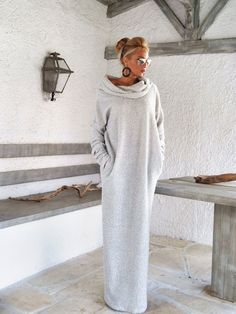 Off White Winter Wool Boucle Turtleneck Maxi Dress Kaftan with Pockets / Winter Warm Long Dress / Asymmetric Plus Size Dress / Oversize Loose