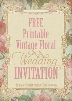FREE Printable Vintage Victorian Floral Wedding Invitation