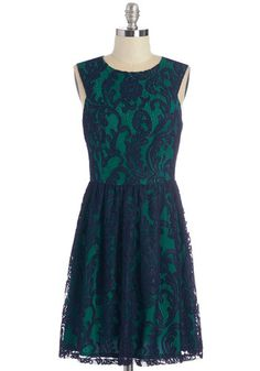 Illustrious Illustrator Dress - Knit, Lace, Lace, Special Occasion, Party, Homecoming, A-line, Sleeveless, Blue, Mid-length, Green, Wedding, Holiday Party, Scoop