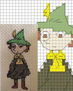Items similar to Snufkin Moomin Cross-Stitch Pattern: Sew It Yourself! on Etsy Knit Slouchy Hat Pattern, Baby Hat Knitting Pattern, Fair Isle Knitting Patterns, Knitting Charts, Cross Stitching, Cross Stitch Embroidery, Embroidery Patterns, Cross Stitch Patterns, Sewing Patterns
