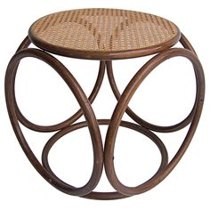stool made of rattan, cane, wood - thonet - austria - 1940s - via walter design