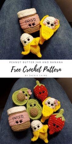Free crochet pattern set: Fatso Peanut Butter and Banana by Amidorable Crochet. Crochet Bee, Kawaii Crochet, Crochet Amigurumi Free Patterns, Crochet Food, Crochet Animal Patterns, Crochet Crafts, Crochet Dolls, Easy Crochet, Crochet Projects