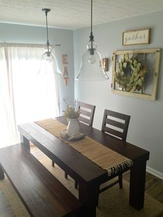 Dining Room Decor! Farm house table/ pottery barn pendants/ magnolia wreath/ farmhouse decor