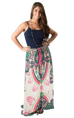 Flying Tomato Women's Cream with Pink Multiprint Maxi Skirt