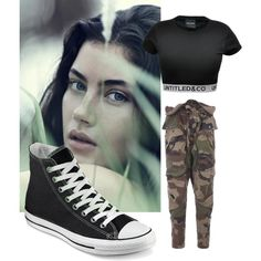Camo, Converse, and Crop Top by ayinafire on Polyvore featuring CO, Faith Connexion, Converse and twinsaudition