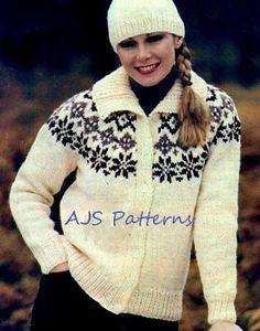 PDF Knitting Pattern Ladies Chunky Knit Fair Isle Jacket and Matching Hat Set.