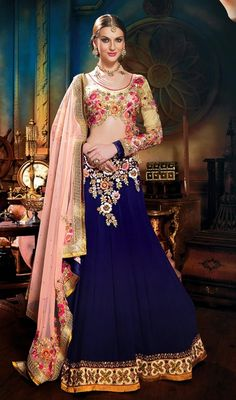 Navy Blue Faux Georgette Embroidered Lehenga Cholie