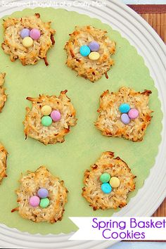 Spring Basket Cookies  (Coconut Macaroons)  So festive and yummy