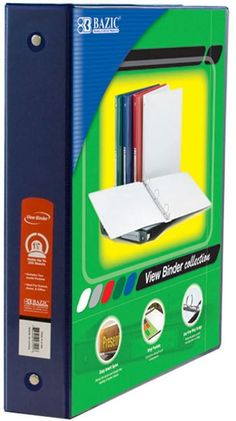 Bazic 1 5 Blue 3 Ring View Binder W 2 Pockets 12 Units Binder Pocket School Supplies