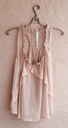 Nude blush pink racer back tunic with lace details by BohoAngels, $45.00