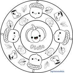 Mandala Estaciones: Otoño • IMPRIME MANDALAS Mandala Coloring, Decorative Plates, Snoopy, Halloween, School, Cards, Fictional Characters, Journal, Autumn