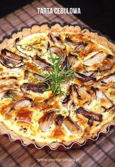 Tarta z pieczoną cebulą / Quiche with onion (recipe in Polish) Onion Recipes, Quiche, Hamburger, Food Porn, Food And Drink, Pizza, Yummy Food, Bread, Snacks
