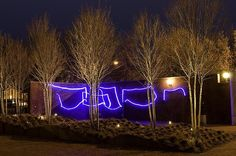 Sharon Louden, The Bridge, 2009 Blue LED Neon Flex Dimensions Variable  Shown here in the sculpture garden at the Weatherspoon Art Museum, Greensboro, NC