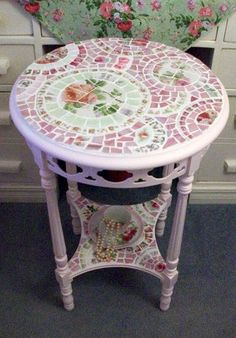 Shabby Pink Rose Mosaic Table by hillspeak, via Flickr DOES ANYONE KNOW THE NAME OF THE FABRIC IN BACKGROUND?