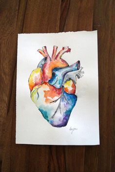 Watercolour Anatomy Art Heart by AlmostAnatomical on Etsy