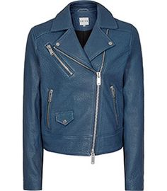 Favour Blue Breeze Textured Leather Biker Jacket - REISS