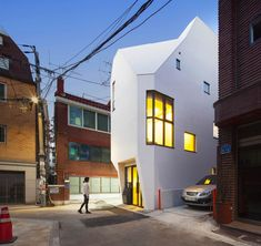 An office for a book publisher is housed within this faceted white building, designed by South Korean studio ThePlus Architects for a six-metre-wide site in Seoul