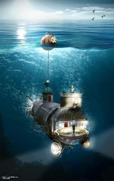 The Journey by Brian Sousa Steampunk: Ocean Craft! Ocean Crafts, Water Crafts, Fantasy Landscape, Fantasy Art, Dirigible Steampunk, Ouvrages D'art, Underwater City, Leagues Under The Sea, Retro Futurism