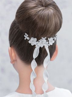 Modern Chic Floral First Communion Hair Comb with Ribbon Trails for Bun or Updo Hairstyle - Emmerling 77406- Pretty Girls First Communion Hair