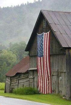 Flag on barn.