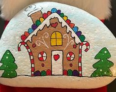 Gingerbread House Painted Rock, Collectible, Home Decor, Christmas Decoration & Gift