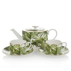 PALMERAL Tea Set - White / Green