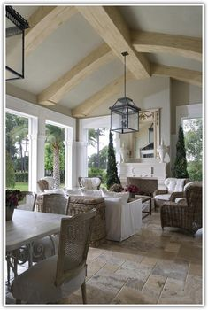 Outdoor Rooms: Florida room with gorgeous stone floors.I would like darker beams but this is really pretty Beautiful Houses Interior, Beautiful Homes, Beautiful Life, Outdoor Rooms, Outdoor Living, Style At Home, French Style Homes, Sweet Home, Stone Flooring