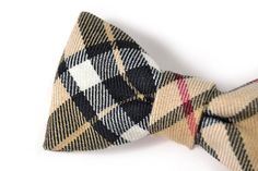 Kids ClipOn Bow Tie College black and beige plaid by nicebuzz