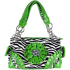 Zebra Stripe Rhinestone Studded Raised Flower Concealed Carry Pocket Handbag Green ** Check this awesome product by going to the link at the image.