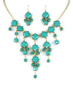Look what I found on #zulily! Gold & Turquoise Square Bib Necklace & Earrings by MOA International Corp #zulilyfinds