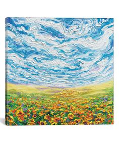 Look what I found on #zulily! Iris Scott Big Sky, Small Sunflowers Gallery-Wrapped Canvas #zulilyfinds