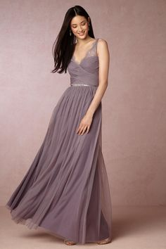 purple bridesmaid dress | Fleur Dress in dusty plum from BHLDN
