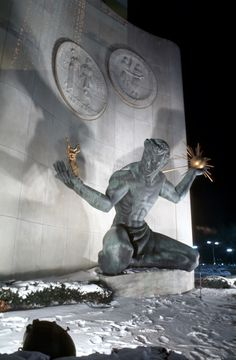 """Marshall M. Fredericks' """"Spirit of Detroit."""" On Woodward Ave. in Detroit. I remember it from the early"""