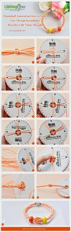 Pandahall Tutorial on How to Make Easy Orange Kumihimo Bracelet with Nylon Threads from LC.Pandahall.com   Jewelry Making Tutorials & Tips 2   Pinterest by Jersica