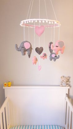 Diy Nursery Decor, Girl Nursery Themes, Baby Room Decor, Nursery Ideas, Nursery Mobiles, Baby Rooms, Pink Elephant Nursery, Elephant Mobile, Baby Girl Elephant