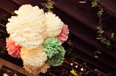 A pom pom cluster hangin' high at the Handmade Vintage Australian Wedding of Jess + Leon Tissue Paper Ball, Tissue Balls, Paper Balls, Paper Pom Poms, Garden Wedding, Diy Wedding, Wedding Ideas, Tulle Poms, Tulle Tutu
