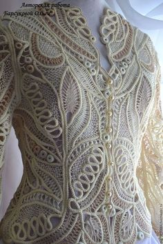 """Fair of Masters - handmade. Buy Author's lace jacket """"At first sight"""". Freeform Crochet, Irish Crochet, Crochet Lace, Lace Patterns, Embroidery Patterns, Crochet Patterns, Crochet Russe, Romanian Lace, Diy Crafts For Girls"""