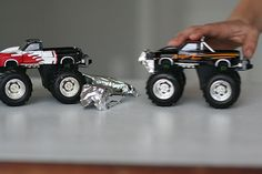 "create ""cars"" to smash with Monster Trucks--put aluminum foil over Hot Wheels cars, then remove the car, line up the ""aluminum"" cars and SMASH!"