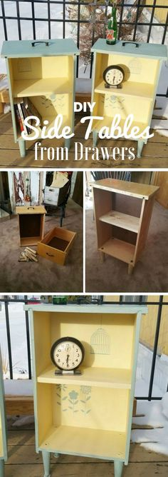 Check out how to make easy shabby chic DIY Side Tables from Drawers @istandarddesign
