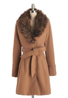 Brown Tan Fur Collar Straight Plush Coat in Camel. @ ModCloth $75