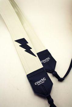 Lightning Bolt Camera Strap - White Vinyl - Vegan and Upcycled - WOW