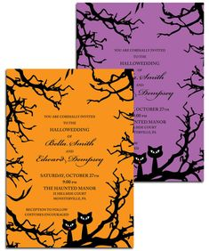 Halloween wedding invitations with tree and cat silhouettes.