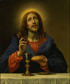 """When everything is subjected to him, then the Son himself will also be subjected to the one who subjected everything to him, so that God may be all in all."" 1 Corinthians 15:28 // Christ, blessing bread and wine / Christus, Brot und Wein segnend / Cristo bendiciendo pan y vino // circa 1670 // Carlo Dolci // Gemäldegalerie Alte Meister // © SKD Staatliche Kunstsammlungen Dresden // #Jesus #HolyCommunion"