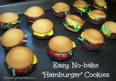 Cute and easy hamburger cookies. Yummy Treats, Sweet Treats, Yummy Food, Fun Food, Food Art, Delicious Desserts, Tasty, Hamburger Cookies, Hamburger Party